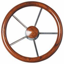 Steering Wheel S/s Mahogany Grip